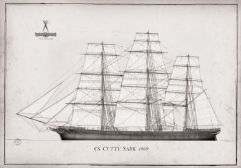 1869 CS Cutty Sark pen ink study